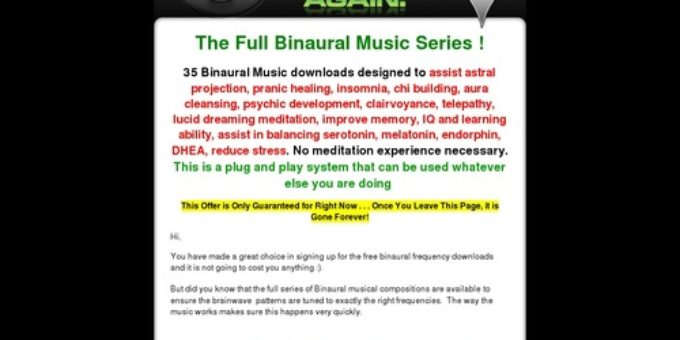 Binaural Music One Time Offer – Mrs Serendipity